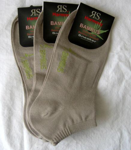 3 Paar RS Herren Bambus Sneaker Socken mit Softrand uni beige natur 39 bis 46