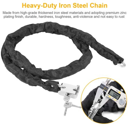 5.9ft//1.8M Motorcycle Bicycle Heavy Duty Chain Lock Padlock Anti Theft Security