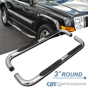 """For 06-12 Jeep Commander XK 7 Pass Chrome 3"""" S/S Side Step Nerf Bars Pair"""