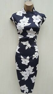 Size-12-UK-KAREN-MILLEN-Black-White-Satin-Chinese-Oriental-Floral-Wiggle-Dress