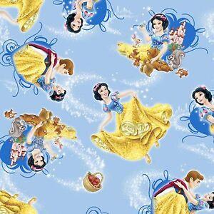 Disney-Fabric-Snow-White-amp-Friends-Character-Toss-Blue-100-Cotton