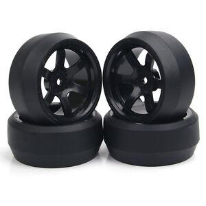 12mm Hex 4 X Black Hub Rc Drift Tires Wheels Rims Fit Hpi 110 On