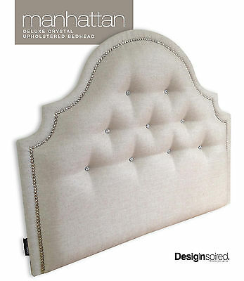MANHATTAN CRYSTAL Upholstered Bedhead for King Single Size Ensemble - ALMOND