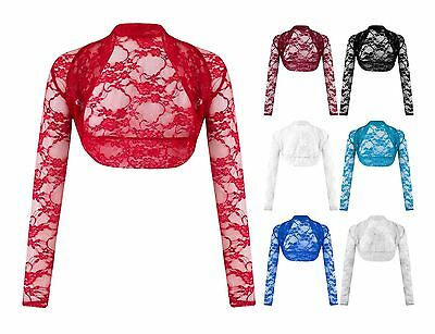Womens Floral Lace Plus Big Size Crop Top Shrug Ladies Crochet Bolero Cardigan