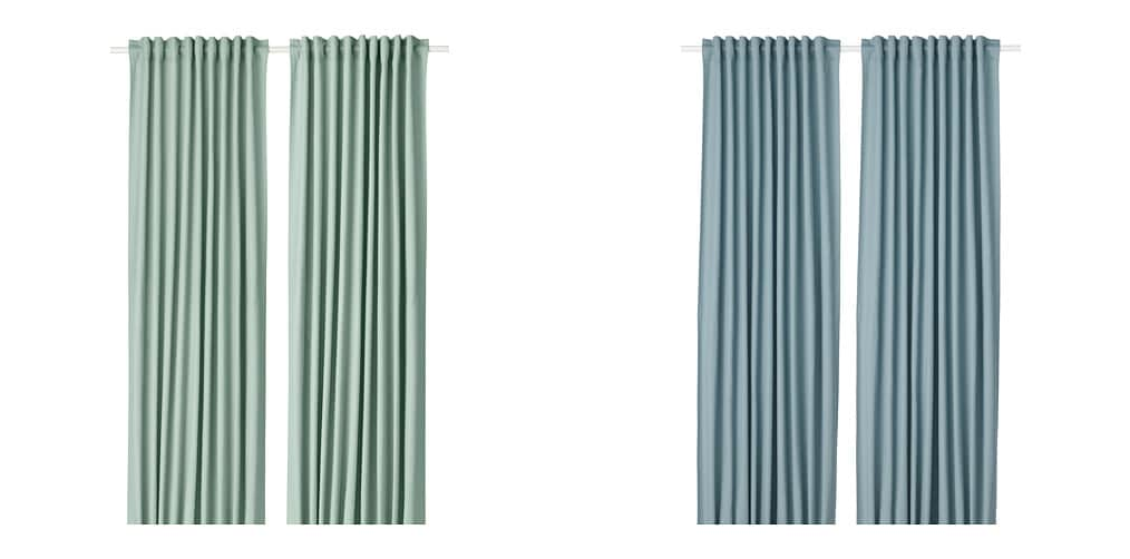 Nuovo  tibast Tende, 1 Paio verde & blu 145 x 250 cm  MARCA IKEA