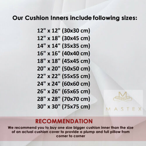 Pack of 4 Cushion Pads Hollowfibre Inserts Fillers Inner Sofa Throw Couch Pillow