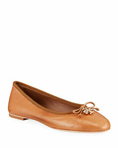 Tory Burch Women Flats Shoes Tan Leather Charm Ballet Dolly Ladies Slip On Pumps