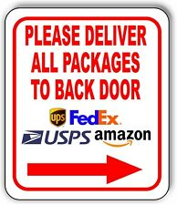 Please Deliver All Packages To Back Door Right Arrow Outdoor Metal Sign