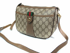 Auth GUCCI GG Pattern PVC Canvas Leather Browns Cross-Body Shoulder Bag GS1112