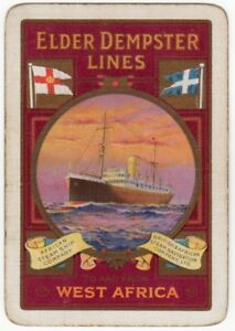 Playing-Cards-1-Single-Card-Old-Wide-ELDER-DEMPSTER-LINES-Shipping-Advertising-3