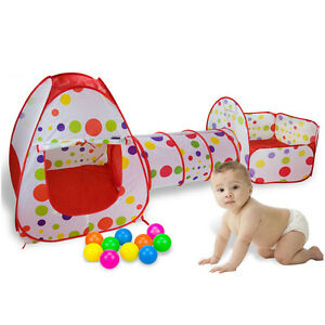 Toddler Play Tent Infant Game House Baby Kid Safety Playpen Creeping Tunnel 3PCS