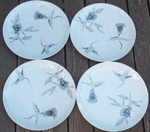 GROUP-OF-4-ROSENTHAL-CONTINENTAL-JET-ROSE-Dinner-Plates-RAYMOND-LOEWY