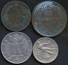 Italy 1862'N' 5c 1866'N' 10c 1912 20c & 1939 XVIII (Non Magnetic) 1 Lira Coins