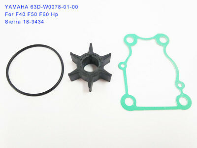 Yamaha Outboard Water Pump Impeller Kit 63D-W0078-01 Sierra 18-3434 Repalcement
