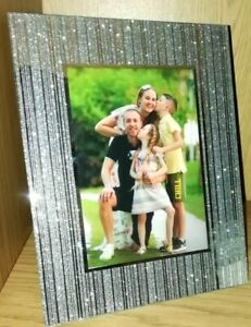 Stunning Silver Glitter Photo Frame 4x6 5x7 8x10 Sparkle Glass Wedding Gift Ebay