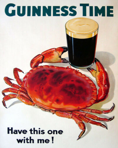 Guinness Time Irish Ireland Beer Crab Seafood Have This Vintage Poster FREE S//H
