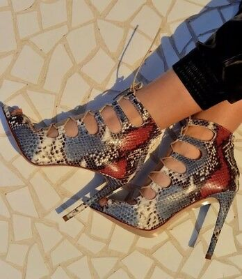 a205c448869 Zara Snake Skin Print Leather Lace Up Heels Shoes Rare Blogger 8 41 | eBay