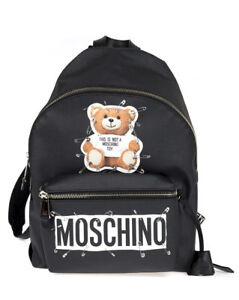 9f7015c7a1 Caricamento dell'immagine in corso Zaino-Moschino-Bag-SAFETY-PIN-TEDDY-Donna -Nero-