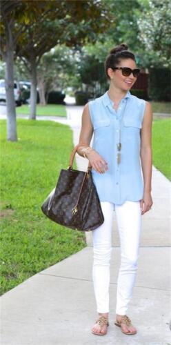 NEW $188 Equipment Signature Silk Sleeveless Blouse Periwinkle Blue SLIM XS//S//M