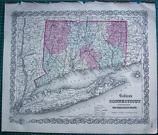 1855 Grande Antico Mappa-COLTON-Connecticut, New York, Rhode Island