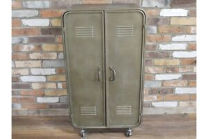 Industrial-Metal-Storage-Cabinet-2-Doors-3-Compartments-Wheeled-Storage