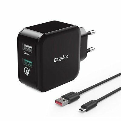 [Quick Charge 3.0] EasyAcc 30W Ladegerät 2 Port Smart Adapter für iPhone,Samsung