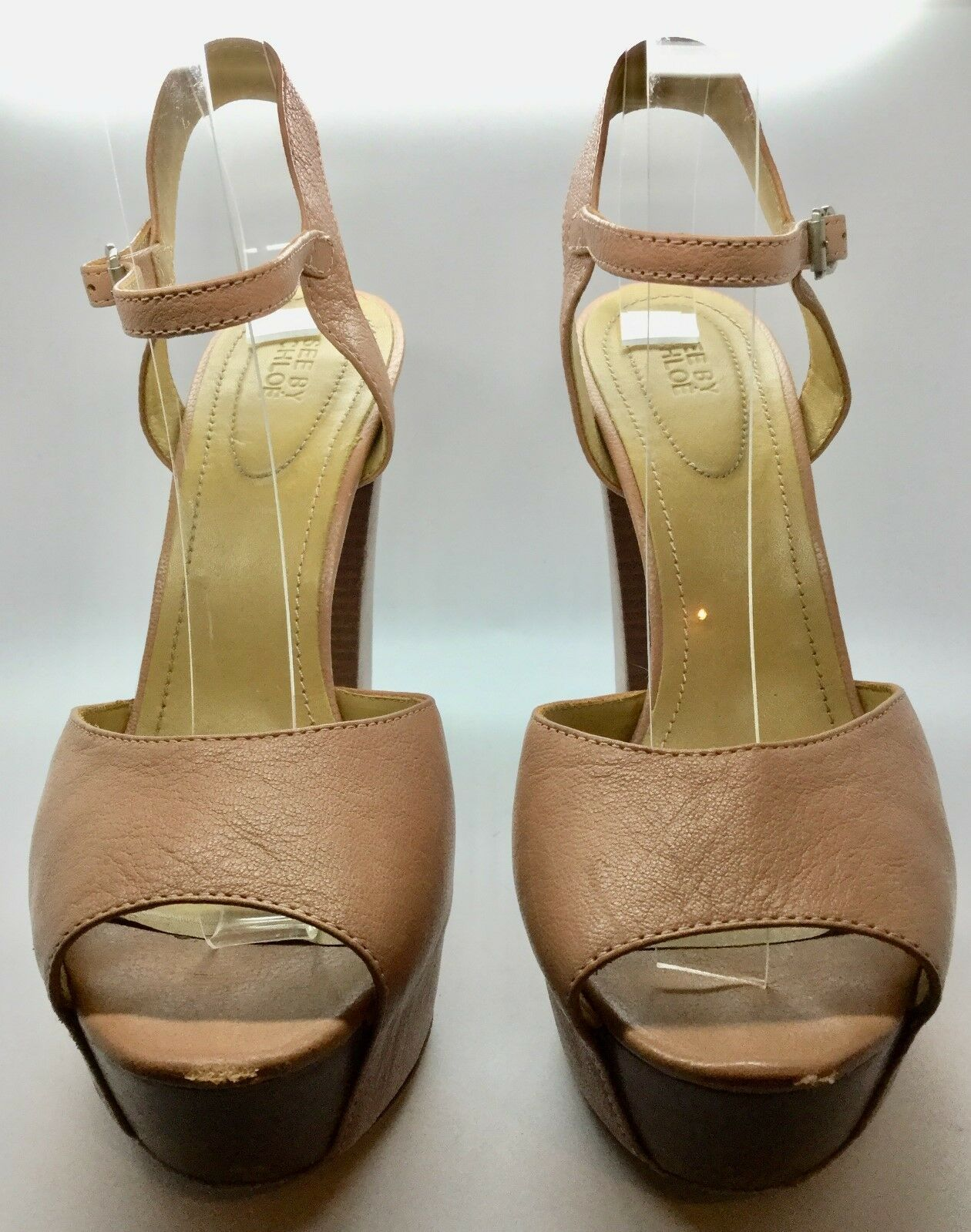 SEE BY CHLOE rosa Leather Dimensione 39.5 Open Toe Platform Pump