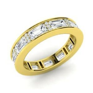 4.00 Ct Solitaire Moissanite Anniversary Proposal 18K Yellow Gold Eternity Band