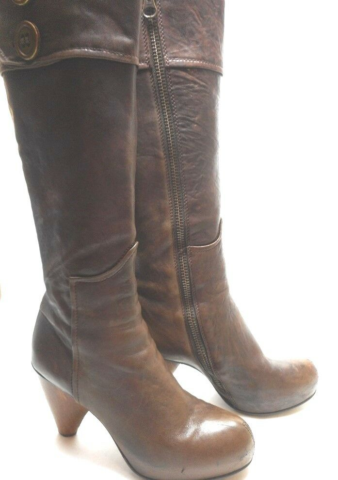 Mike & Chris Brown Leather Zipper Front 9.5 39 1 2 Women's Knee High Boots