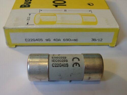 C22G40S gG 40A 690V BUSSMANN FUSE 40AMPS SIZE 22.2mm x 58mm QTY 1 FUSE