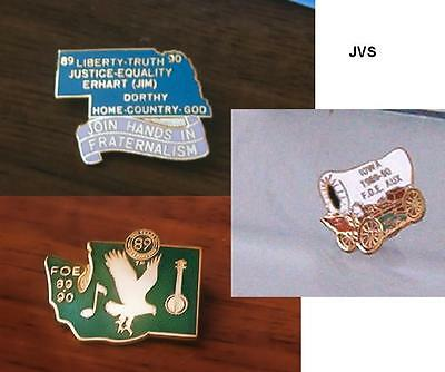 Set of Three Fraternal tac / lapel PINs Fraternal Order of Eagles (F.O.E.)