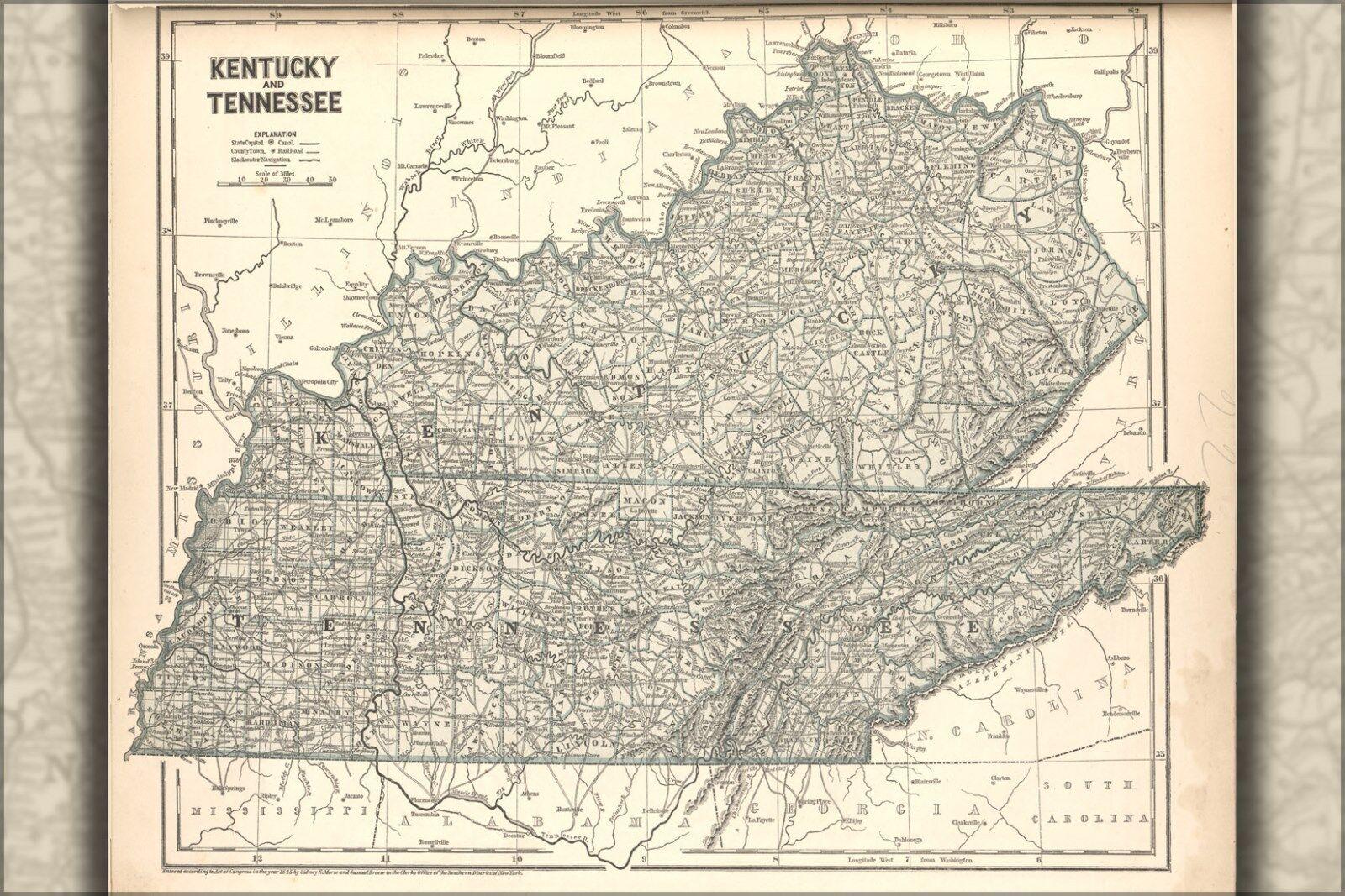 Plakat, Viele Größen; Karte von Kentucky - und Tennessee