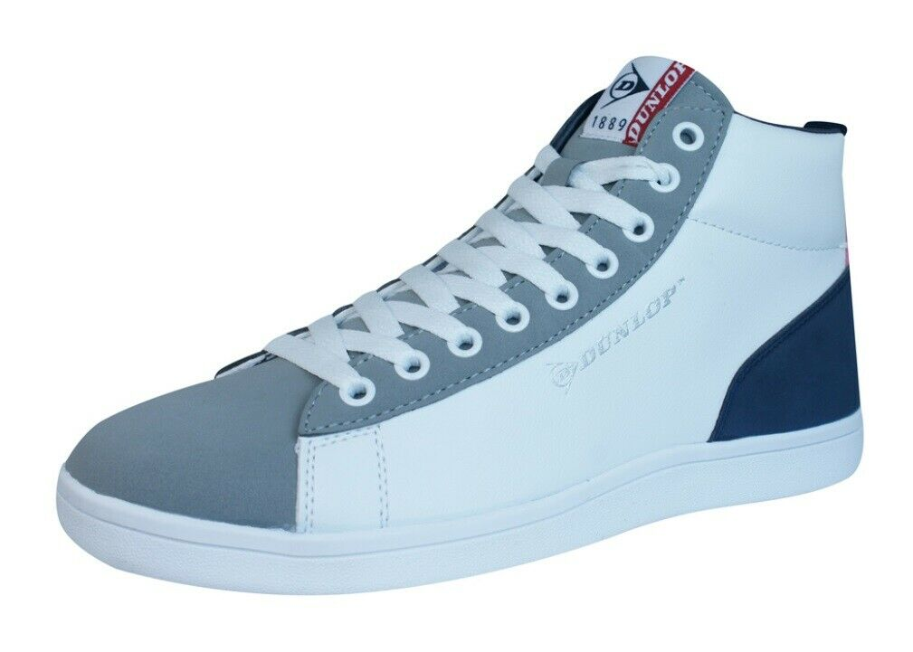 Dunlop Jerez Mens High Top Lace Up shoes Fashion Sneaker Ankle-Boots White