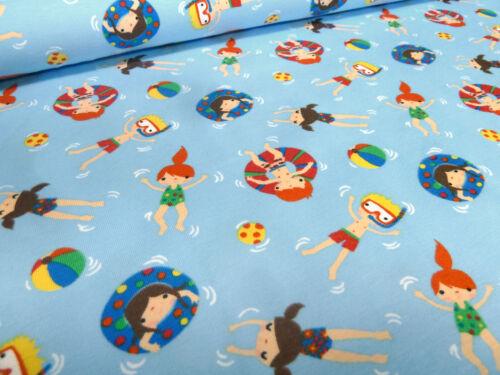 Tissu Coton Jersey piscine piscine enfant bleu clair Coloré Enfants Tissu Fille