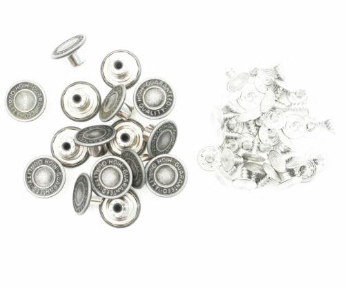 14mm Replacement Jeans Buttons Hammer On Pins Gunmetal Denim Jacket Handbag Bag