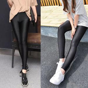 e9be92b9bf01e Image is loading Womens-Leggings-Soft-Strethcy-Shiny-Yoga-Leggings-Fitness-
