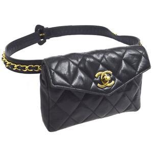 189d01eefc79 Auth CHANEL Quilted CC Chain Belt Waist Bum Bag Black Leather ...