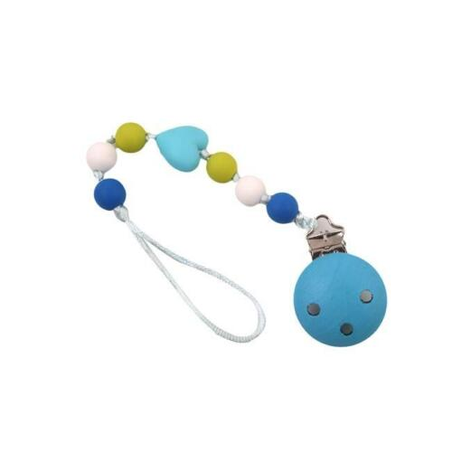 Wooden Teething Pacifier Clips Baby Holder Bead Chain Chew Natural Chains FI