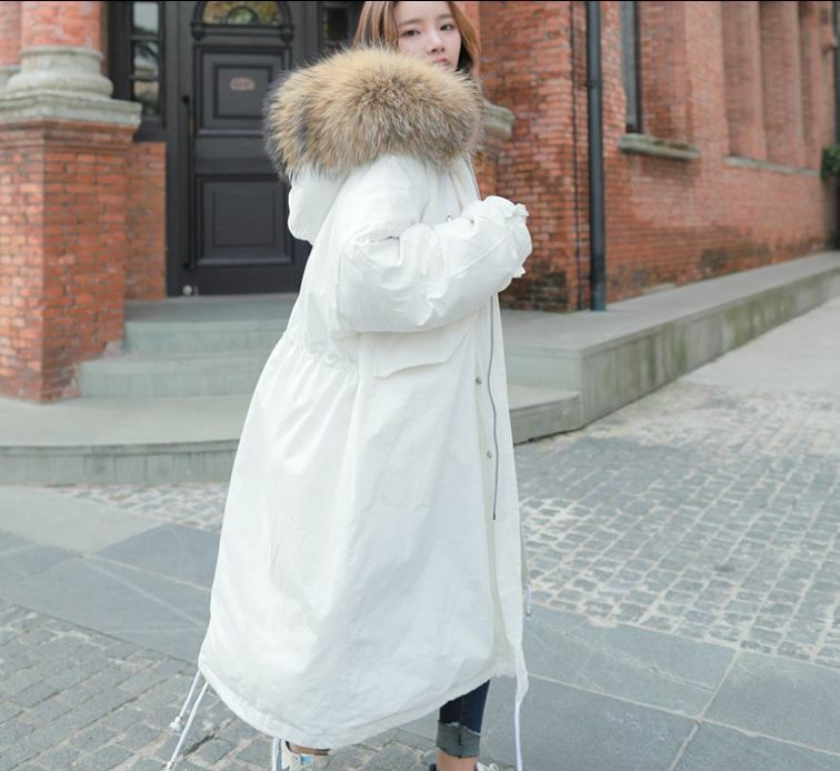 Women's Fur Collar Hooded Loose Cotton Padded Parka Full-Length Coat Outwear New