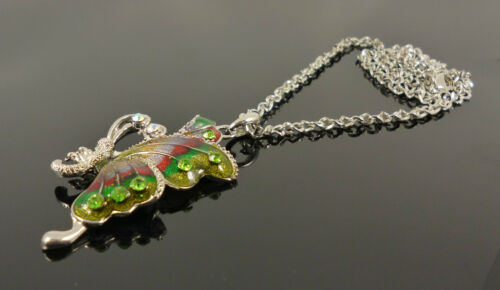 Silver Butterfly Crystal Green Red Glitter Costume Jewellery Necklace