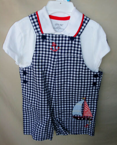 LITTLE ME 100/% Cotton 2 pc Blue Check Gingham Shortall Set INFANT BOY SIZES NWT