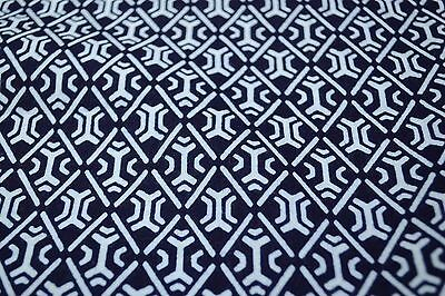 Japanese Cotton Fabric Blue With White Repetitive Design 1515