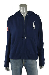 About New Ralph Details Jacket Pony Hoodie Lauren Polo Flag Women's Navy Big Usa bf76yg