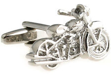 Motorcycle Cufflinks Silver Cycle Harley Wedding Fancy Gift Box Free Ship USA