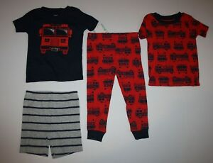 043c4bdca New Carter s Boys 4 Piece Fire Truck Stripes Pajamas PJs Set Size 18 ...