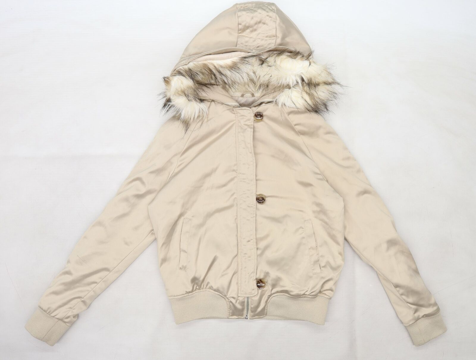 Atmosphere Womens Grey Satin Pea Coat Size 10