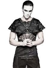 Punk Rave Mens Dieselpunk Shoulder Armour Cape Black Faux Leather Gothic Harness