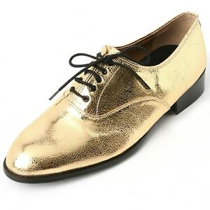 5847f5b3174a Details about Men's lace up synthetic leather shiny gold oxfords low heel  dress shoes US6-10.5