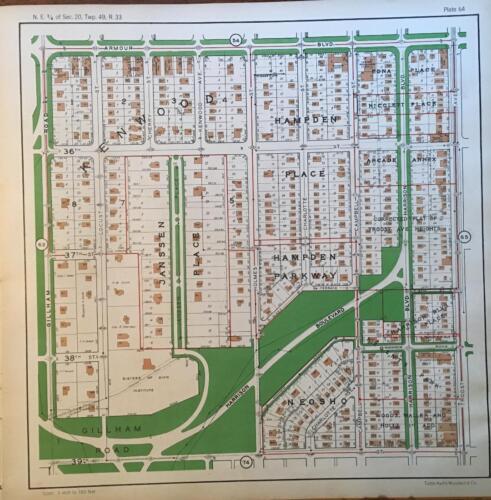 1925 KANSAS CITY MISSOURI CENTRAL HYDE PARK SION INSTITUTE ATLAS MAP