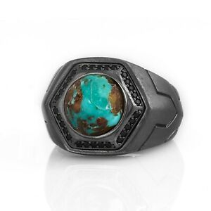 Turquoise-Gemstone-Mens-Sterling-Silver-Signet-Ring-Vintage-Handmade-Unique-Gift